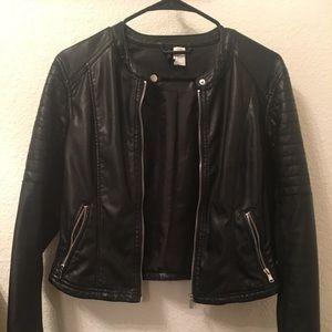 Jackets & Blazers - H&M black leather jacket